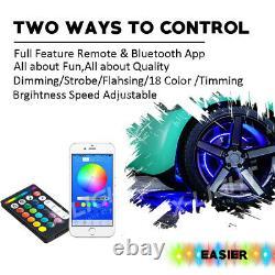 15 RGB Wheel Rim Lights + IP68 4PC Underglow Strips Kit Bluetooth withBrake Mode