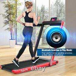 2.25HP 2 in 1 Folding Treadmill WithBluetooth Speaker Remote Control Home Gym Red