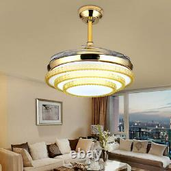 42 Invisible Ceiling Fan Light Remote Control Dimming LED Chandelier Fan Lamp