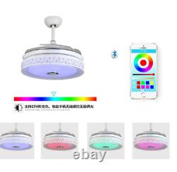 42 Retractable Ceiling Fans Bluetooth LED Chandelier Remote Control AudioPlayer