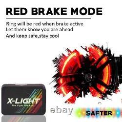 4pc Car Truck 17 LED Wheel Ring Lights Kit Color Shift Changing Red Brake Mode