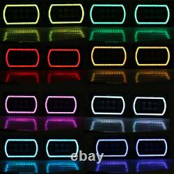 4x 6 Bluetooth Remote Control LED Headlights Lamp RGB Cree H4 DRL with Projector