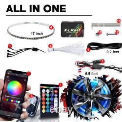4x Bluetooth Remote 17 LED RGB Ring Wheel Lights with Turn Brake illuminated KIT