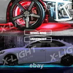 4x LED Wheel Ring Lights + 4x LED Car Underbody Glow Neon Combo Kit Bluetooth
