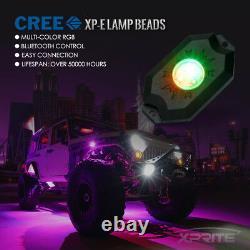 8PCS RGB LED Rock Lights Multi-Color Bluetooth For Underglow Off Road UTV Truck