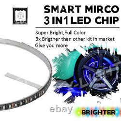 Bluetooth 15 Wheel Ring LED Neon Glow Light Kit /Music Active Red Brake Mode