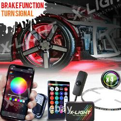 Bluetooth 4pc 17in LED Wheel Ring Light Car/Truck Kit with Amber Turn Signal Music