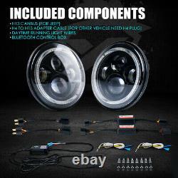 Bluetooth RGB Halo 90W CREE LED 7 Headlights For 97-18 Jeep Wrangler JK