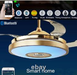 Bluetooth Remote Control 3 Color Changes Music Ceiling Fan Chandelier LED Light
