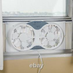 Comfort Zone CZ310R 3 Speed Dual Reversible Window Fan with Remote Control, White