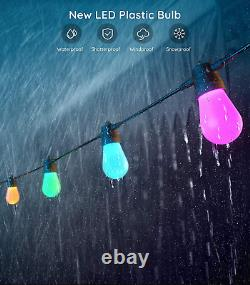 Govee Bluetooth 48Ft Rgbw Outdoor String Lights, App And Remote Control, Ip65 Wa