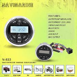 Marine Stereo Audio Bluetooth Radio MP3 Player +Receiver Wired Remote Control