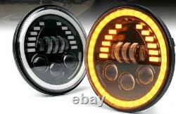 Pair 7Inch 85W LED Headlights DRL Halo Angle Eyes For Jeep Wrangler JK