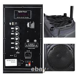 Portable Rolling 12 Powered DJ Party PA Speaker with Bluetooth USB Remote Control