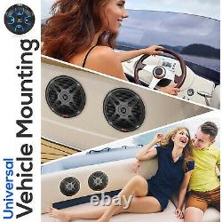 Pyle PLMRKT8 6.5 Marine Speakers with Bluetooth Remote Control, Black (2 Pack)