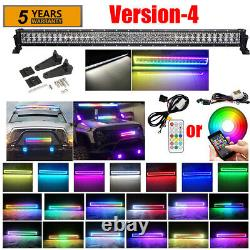 RGB Angel Eyes Halo Ring LED Work Light Bar Combo Wireless Bluetooth / Remote
