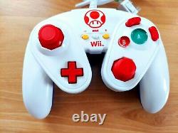 Toad Themed Nintendo Wii Remote & Hori Toad Fight Pad Gamepad Controller Lot