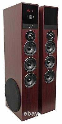 Tower Speaker Home Theater System withSub For Samsung NU6900 Television TV-Wood