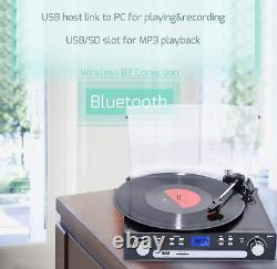 Vinyl Record Player, Bluetooth Turntable with Stereo Speakers, Remote Control
