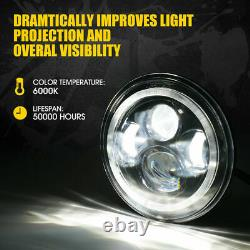 Xprite 7 90W LED Headlights with RGB Dancing Halo Ring for Jeep Wrangler JK/TJ/LJ