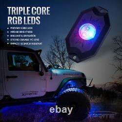 Xprite 8PC Remote Control RGB LED Rock Lights for Trucks Jeep ATV UTV Polaris
