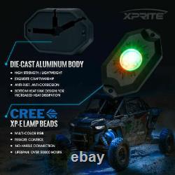Xprite 8 Pods Wireless RGB LED Rock Lights Underglow Underbody Kit for UTV Jeep