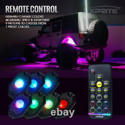 Xprite 8pcs Remote Control RGB LED Rock Lights Pod for Truck Jeep ATV UTV Pickup