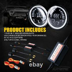 Xprite Pair 7Inch 85W LED Headlights DRL Halo Angle Eyes For Jeep Wrangler JK