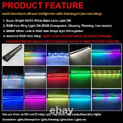 12-52 Rgb Halo Multi-color Chasing Led Work Light Bar Combo Bluetooth & Remote