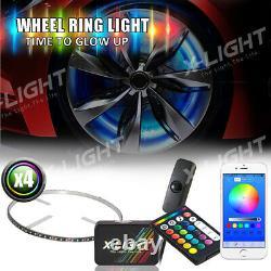 17 Rgb-w Led Wheel Rings X4pcs Rim Lights Kit Bluetooth App + Télécommande