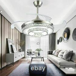 42 Crystal Invisible Plafond Ventilateur Lumière Télécommande Home Chandelier Lampe