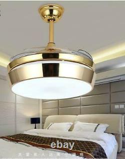 42 Lustre Léger De Ventilateur De Plafond Avec Le Kit Led Lames Rétractables Télécommande