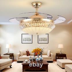 42 Rétractable Plafond Ventilateur Light Lampe Télécommande Dimmable Led Chandelier Us