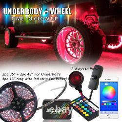 8pc Rgb Led Neon Underbody Underglow Kit De Voiture + Passage De Roue Anneau Rim Lumières Combo