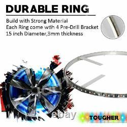 Bluetooth 4pc 15 Million Color Smd Led Wheel Ring Light Kit Pour 14-1/2 Rotors