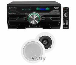 Dv4000 4000w Bluetooth Home Theater DVD Receiver+2 5.25 Haut-parleurs Plafond Blanc
