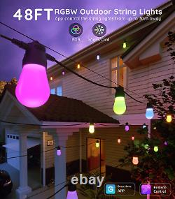 Govee Bluetooth 48ft Rgbw Outdoor String Lights, L'application Et La Télécommande, Ip65 Wa
