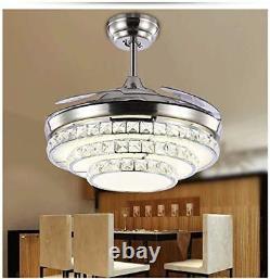 Lustre À Télécommande Crystal Invisible Fan Ceiling Light Led Light Kit 42''