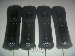 Nintendo Brand Officiel Wii & U Remote Controller Motion Plus Set Lot Of 4 Black
