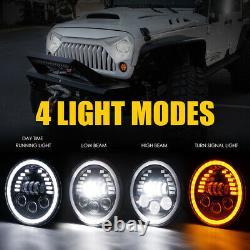 Paire 7inch 85w Phares Led Drl Halo Angle Yeux Pour Jeep Wrangler Jk