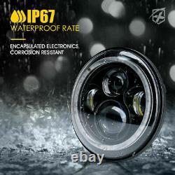 Phares Led Xprite 7 90w Avec Rgb Dancing Halo Ring Pour Jeep Wrangler Jk/tj/lj