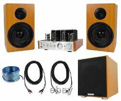 Rockville Blutube Bluetooth Tube Amplificateur+6.5 Haut-parleurs Wood Bookshelf+8 Sub