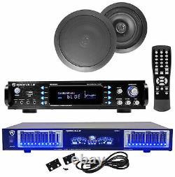 Rpa60bt Home Theater Bluetooth Récepteur +10 Bande Eq+8 Haut-parleurs De Plafond Noir