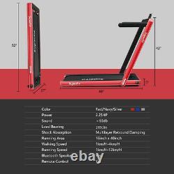 Tapis Roulant Pliant 2 En 1 Avec Haut-parleur Bluetooth Remote Control-red