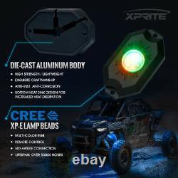 Xprite 8pc Victory Series Télécommande Rgb Led Rock Lights Pour Jeep Atv Utv